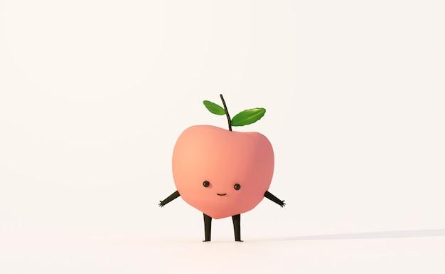Estilo de dibujos animados divertidos de fruta durazno