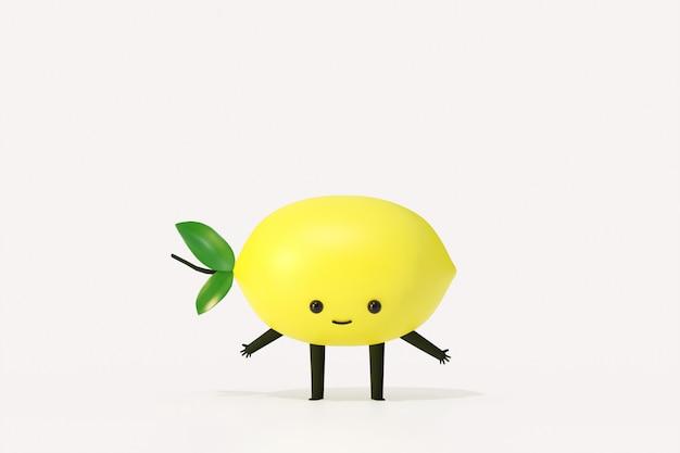 Estilo de dibujos animados divertidos de fruta de limón