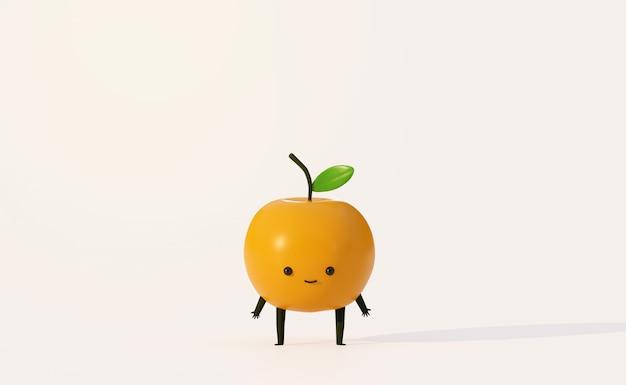 Estilo de dibujos animados divertidos de fruta naranja