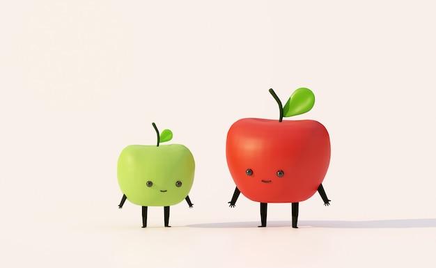 Estilo de dibujos animados de fruta divertida de manzana roja y manzana verde