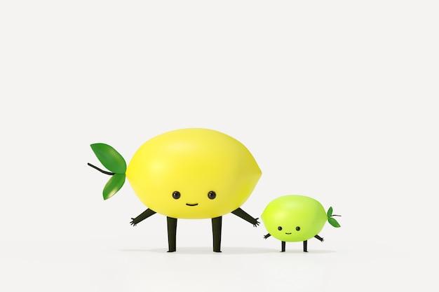 Estilo de dibujos animados de limón y baby lemon fruit