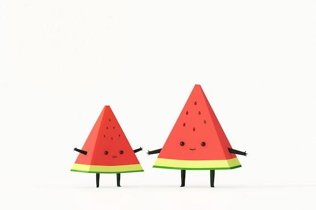 Estilo de dibujos animados de melón de agua y amigo