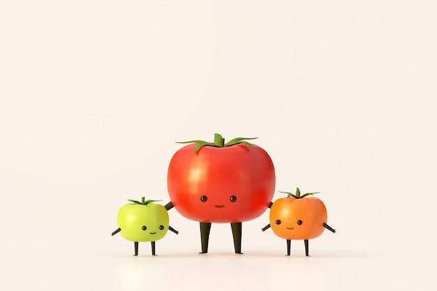 Estilo de dibujos animados vegetales de planta de tomate rojo verde y naranja