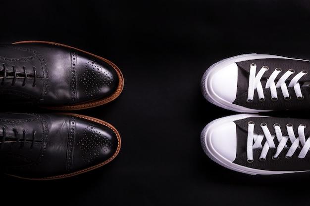 Estilo diferente de la moda masculina. comparar de formal y casual.
