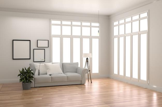 Estilo escandinavo del sitio con el piso de madera en fondo blanco vacío de la pared. representación 3d