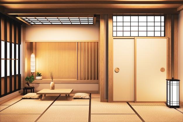Estilo japonés de la sala de estar de ryokan en la decoración de madera de la pared representación 3d