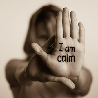 Estoy tranquilo en la palma de la mano