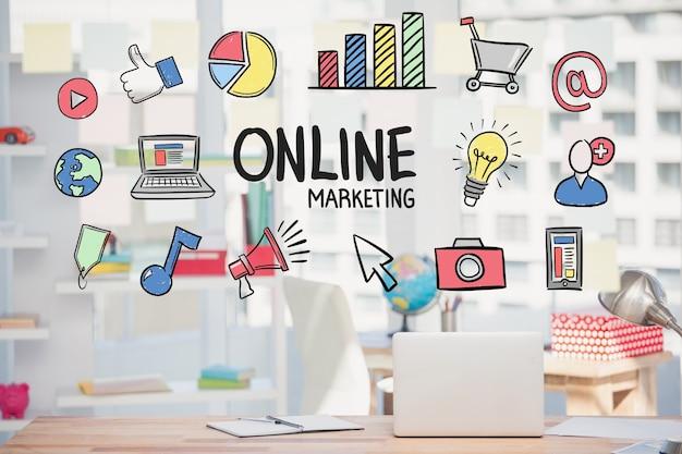 Estrategia de marketing online con dibujos