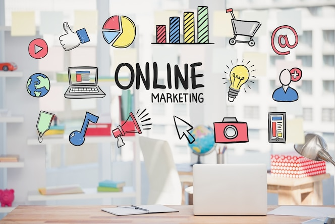 Estrategia de marketing online con dibujos