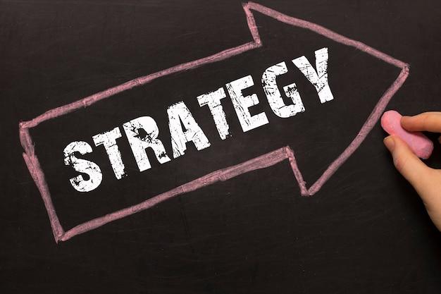 Estrategia - mano femenina con tiza y flecha con texto