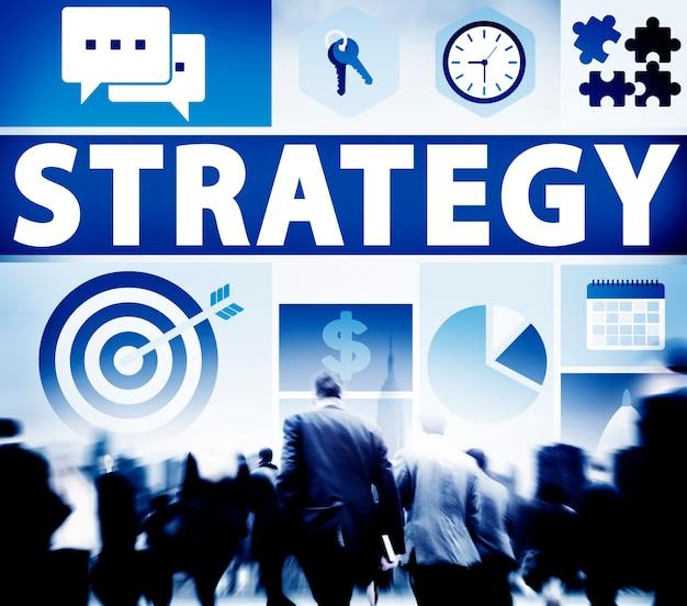 Estrategia, solución, tácticas, trabajo en equipo, crecimiento, visión, concepto
