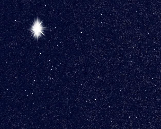Estrella brillante en el cielo que indica el nacimiento de jesucristo.