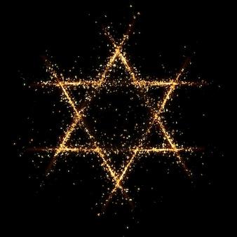 Estrella de david partícula de oro fondo negro. representación 3d ilustración 3d.
