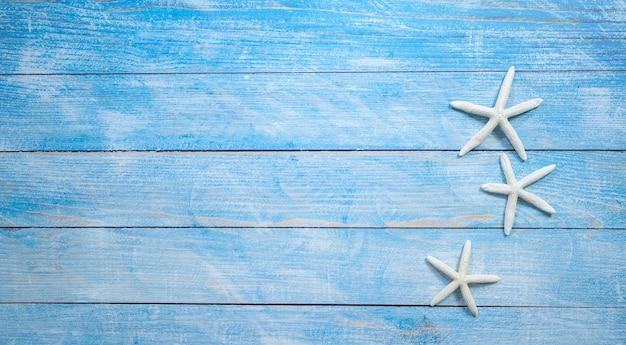Estrella de mar sobre un fondo azul brillante