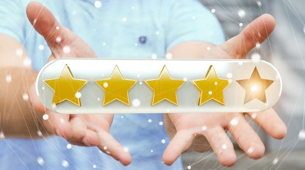 Estrellas de calificación de empresario con su mano representación 3d