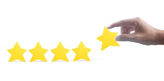 Estrellas en mano. aumentar el concepto de evaluación y clasificación de calificaciones