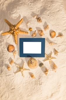 Estrellas de mar y conchas alrededor del marco de fotos
