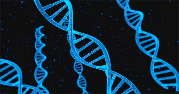 Estructura de adn azul y células bajo la ilustración 3d del sistema de adn humano