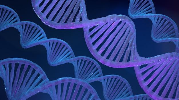 Estructura de adn azul de luz azul sobre fondo oscuro d ilustración