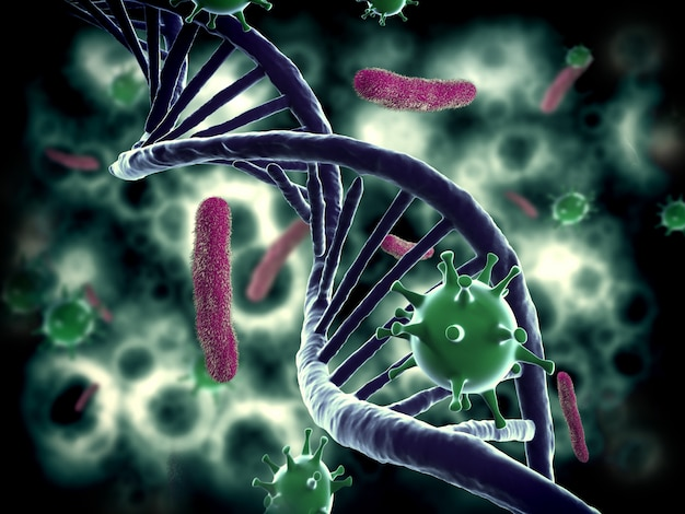 Estructura del adn, bacterias e infectados por vih