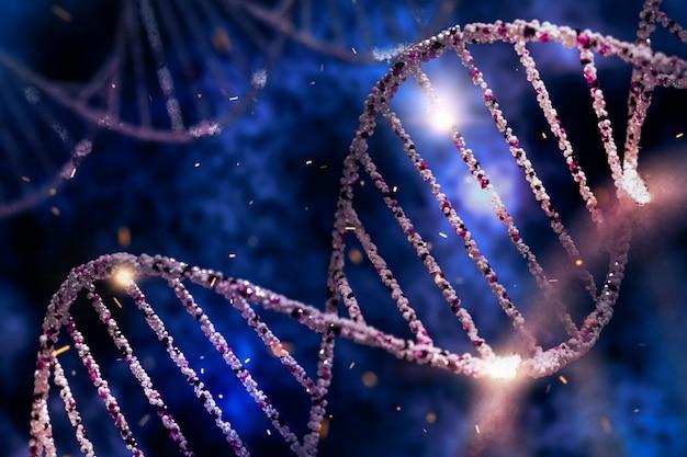 Estructura del adn, concepto de ingeniería genética. ilustración 3d del modelo de adn.