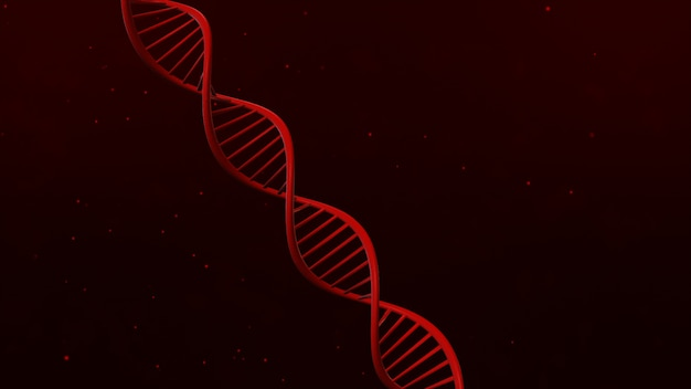 Estructura de adn sobre fondo rojo abstracto ilustración 3d