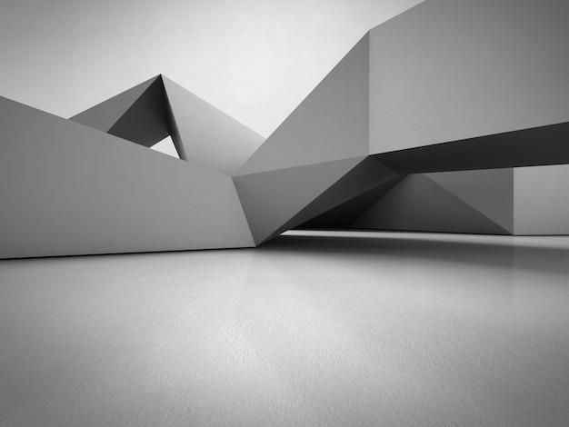 Estructura de formas geométricas en piso de concreto con fondo de pared gris vacío en el hall.