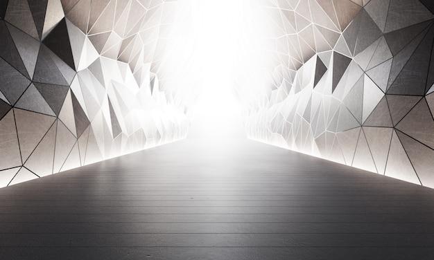 Estructura de formas geométricas en piso de concreto gris con fondo de pared blanca en gran salón o sala de exposición moderna.
