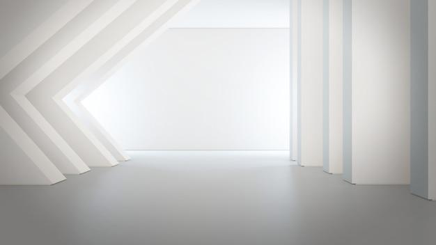 Estructura de formas geométricas en piso de concreto vacío con fondo de pared blanca en gran salón o sala de exposición moderna.