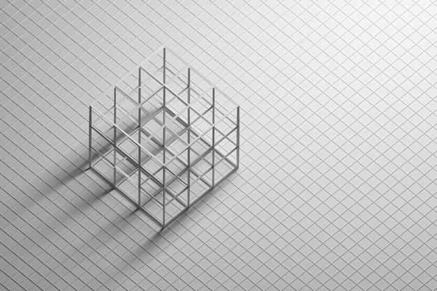 Estructura metálica de cubo grande sobre fondo blanco