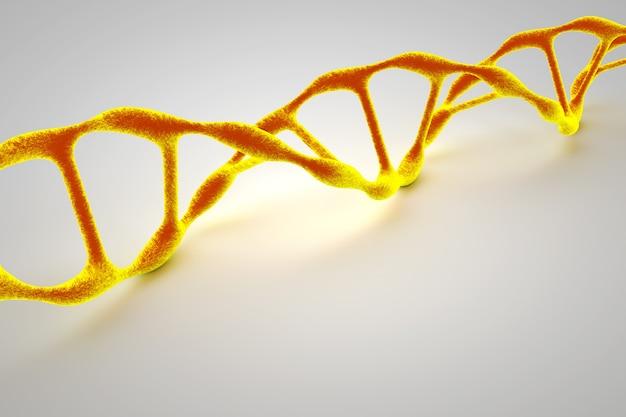 Estructura de moléculas de adn de estructura metálica. concepto de ciencia médica y biotecnología genética. ilustración 3d.
