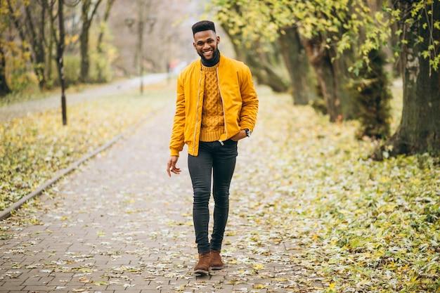 Estudiante afroamericano caminando en el parque