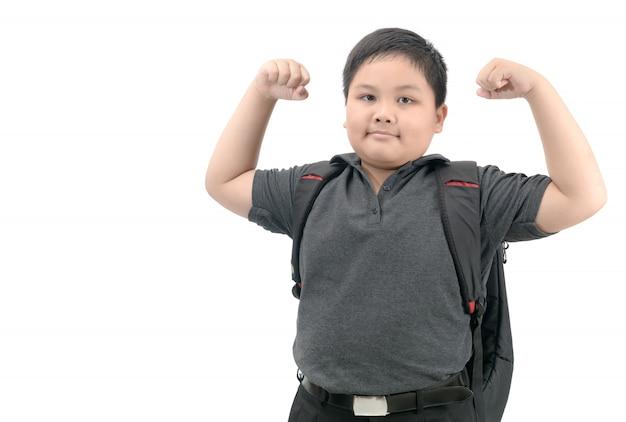 Estudiante asiático sano con el bolso de escuela aislado