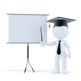 Estudiante presentando delante de un tablero en blanco. aislado. contiene trazado de recorte de escena y tablero en blanco