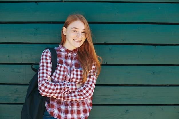 Estudiante, universidad, sonriente
