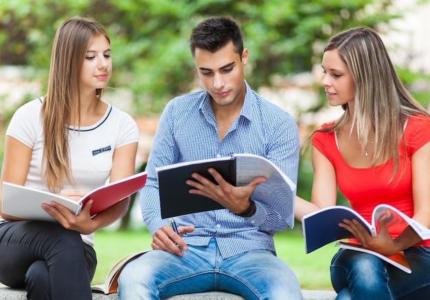 Estudiantes felices que estudian sentarse al aire libre en un banco