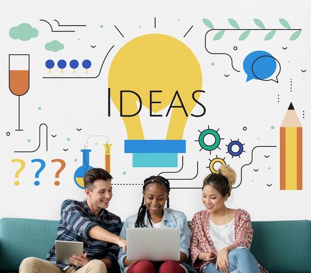 Estudiantes con ilustración de la bombilla de ideas de creatividad