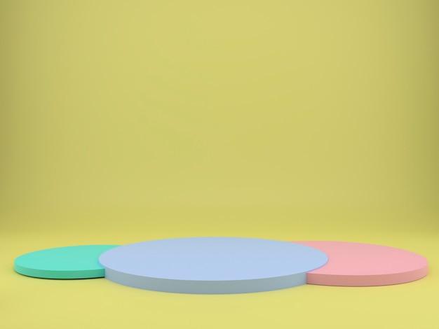 Estudio amarillo con formas geométricas, podio en el suelo, simulacro de fondo.