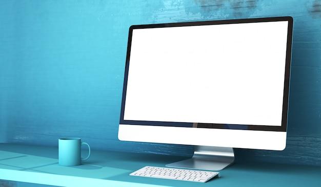 Estudio azul con computadora