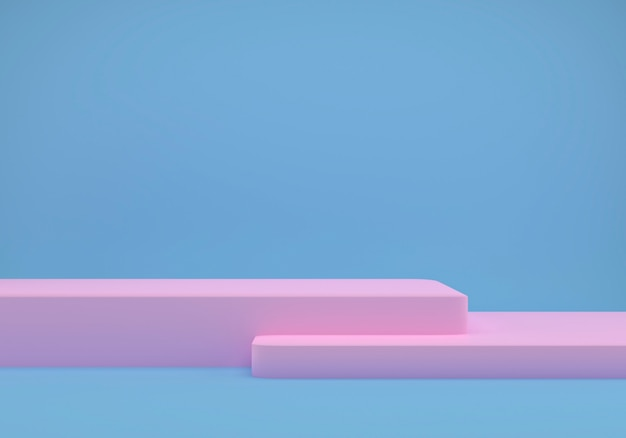 Estudio azul con formas geométricas, podio en el suelo.