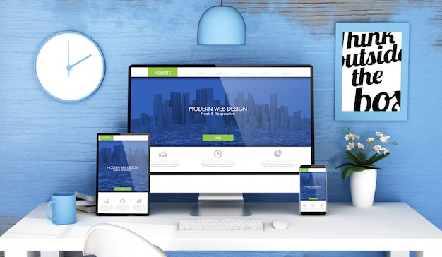 Estudio azul con web moderna receptiva en dispositivos