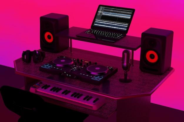 Estudio casero de música moderna de grabación, lugar de trabajo de dj con equipos e instrumentos electrónicos sobre un fondo rosa abstracto. representación 3d