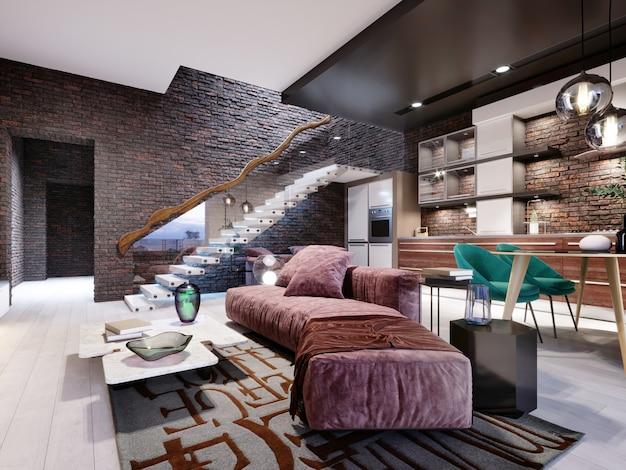 Estudio de diseño tipo loft con escalera y pared de ladrillo oscuro. sala de estar con muebles tapizados en color burdeos y una cocina moderna. representación 3d.