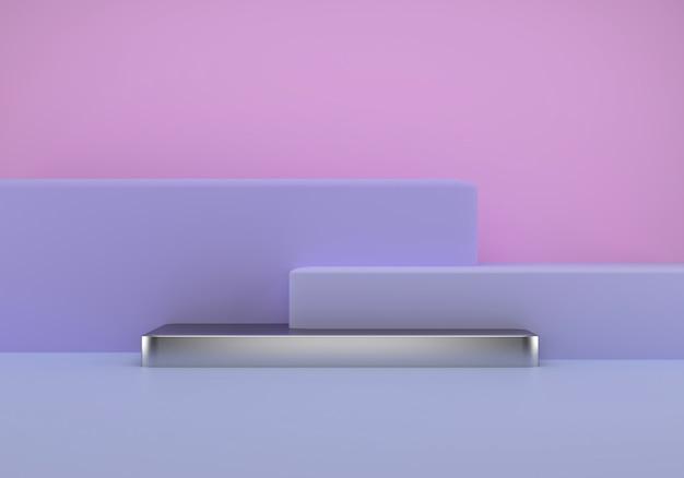 Estudio con formas geométricas, podio en el suelo, plataformas para presentación de producto.