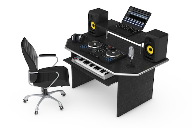 Estudio de grabación de música moderna con equipos e instrumentos electrónicos sobre un fondo blanco. representación 3d