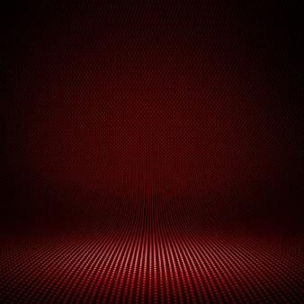 Estudio interior texturizado de la fibra de carbono roja moderna con la luz para el fondo