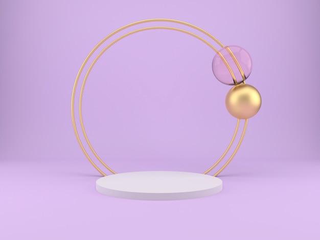 Estudio lila con bolas, podio en el suelo, simulacro de fondo.
