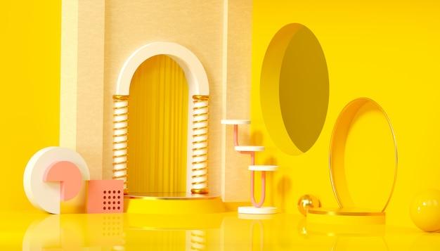 Estudio minimalista con pedestal redondo y forma geométrica sobre fondo amarillo