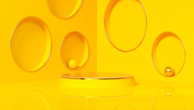 Estudio minimalista con pedestal redondo sobre fondo amarillo