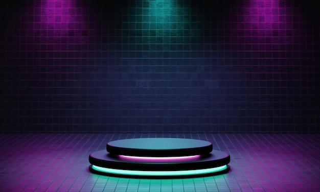 Estudio de plataforma de podio de producto cyberpunk con reflector azul y violeta